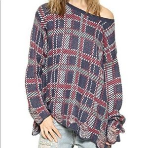 🛍 Wildfox White Label Plaid Distressed Sweater
